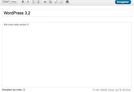 Capture d'écran - Le mode d'écriture en plein écran dans WordPress 3.2