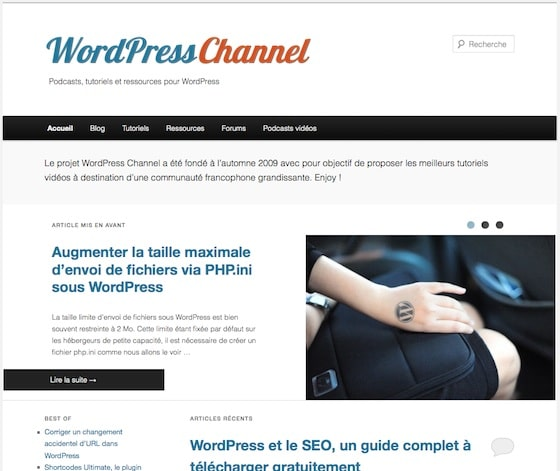 Capture d'écran - WordPress Channel, version 3