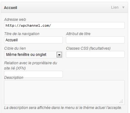 Capture d'écran - Configuration des propriétés avancées