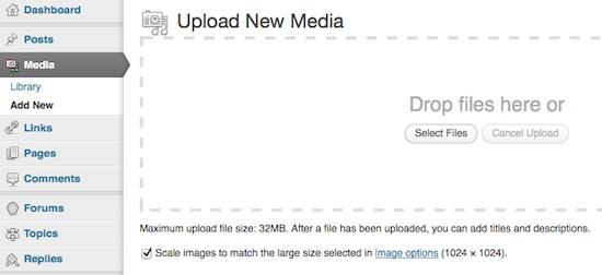 Capture d'écran - Envoi de médias par drag'n'drop