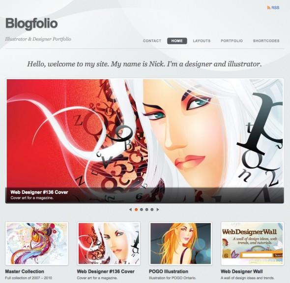 Capture d'écran - Blogfolio, thème WordPress portfolio