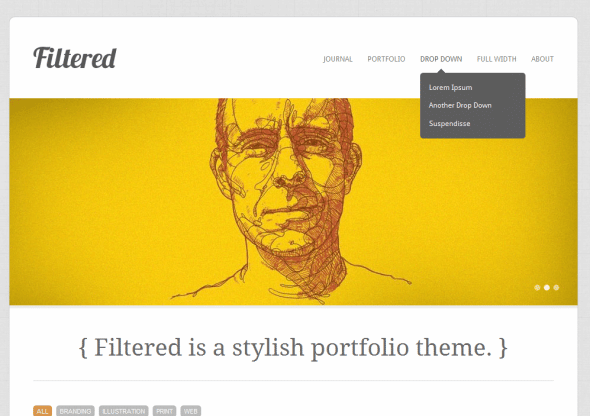 Capture d'écran - Filtered, thème WordPress portfolio