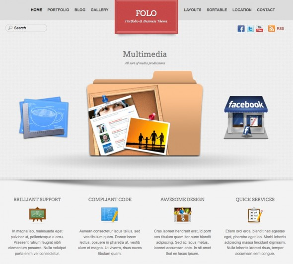 Capture d'écran - Folo, thème WordPress portfolio