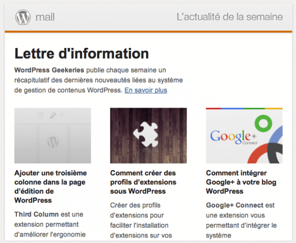 Capture d'écran - Newsletter francophone WordPress