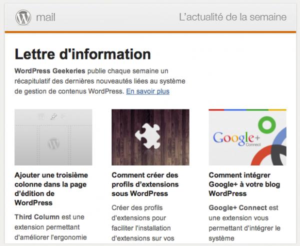 Capture d'écran - Newsletter francophone WordPress