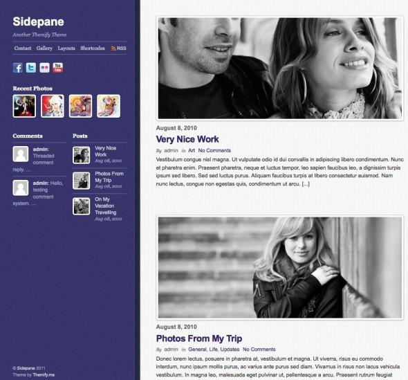 Capture d'écran - Sidepane, thème WordPress portfolio