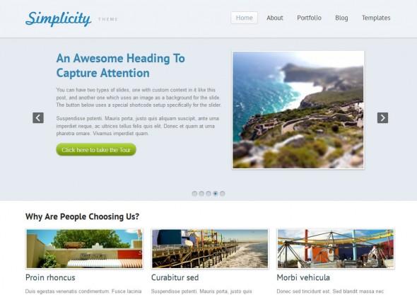 Capture d'écran - Simplicity, thème WordPress portfolio