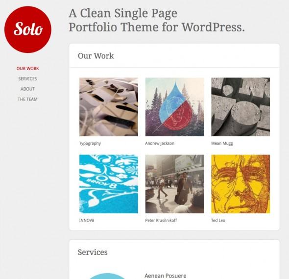 Capture d'écran - Solo, thème WordPress portfolio