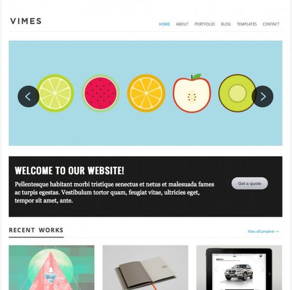Capture d'écran - Vimes, thème WordPress portfolio