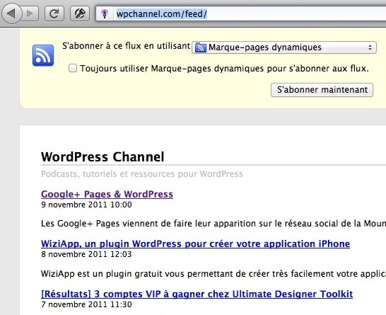 Capture d'écran - Flux RSS WordPress Channel sous Firefox