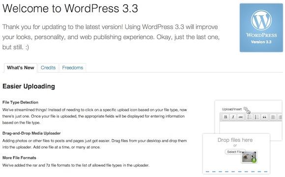 Capture d'écran - Ecran A propos de WordPress 3.3