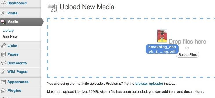 Capture d'écran - Envoi d'un fichier PDF sous WordPress 3.3