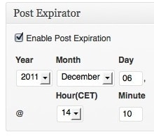 Capture d'écran - Post Expirator, plugin WordPress