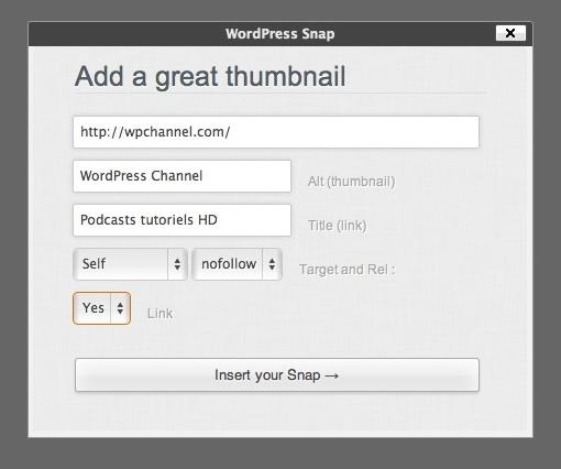 Capture d'écran - Ajout d'une miniature de site avec WordPress Snap