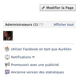 Capture d'écran - Administrer page Facebook
