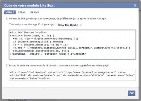 Capture d'écran - Facebook Like iFrame