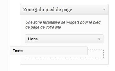 Capture d'écran - Widget texte sous WordPress