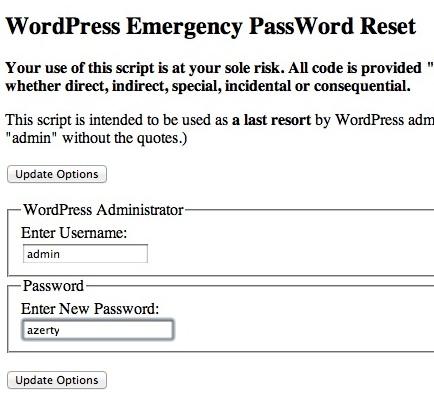 Capture d'écran - Remise à zéro mot de passe WordPress