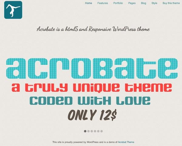 Capture d'écran - Aperçu de Acrobate, un thème premium par Marie Faubert