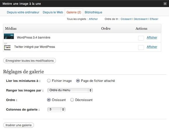 Capture d'écran - Insertion d'une galerie photos WordPress