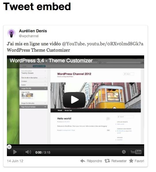 Capture d'écran - Support automatique de Twitter sous WordPress