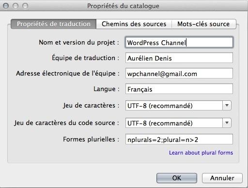 Capture d'écran - Création d'un catalogue sous Poedit