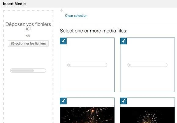 Capture d'écran - Gestionnaire de médias sous WordPress 3.5