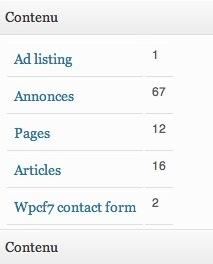 Capture d'écran - Compteurs par type de contenu sous WordPress