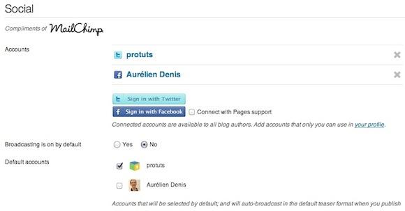 Capture d'écran - Social Plugin pour WordPress, paramètrage