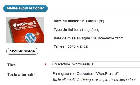Capture d'écran - Modification d'un JPEG sous WordPress