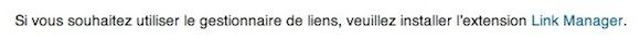 Capture d'écran - Erreur lors de l'affichage du module Liens sous WordPress 3.5