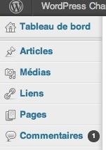 Capture d'écran - Gestionnaire de Liens sous WordPress 3.5