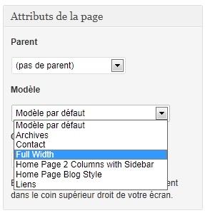 Capture d'écran - Liste des modèles de page sous WordPress