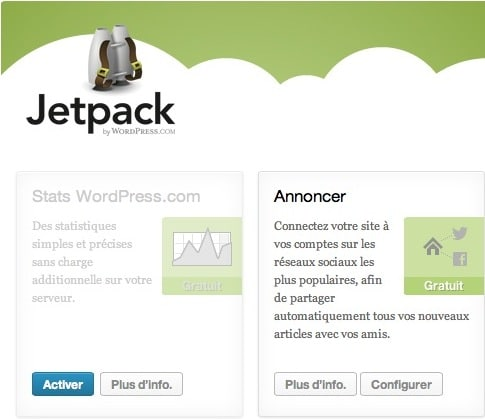 Capture d'écran - Configuration de Jetpack pour WordPress