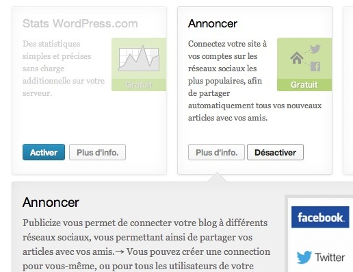 Activer / désactiver les modules Jetpack de WordPress