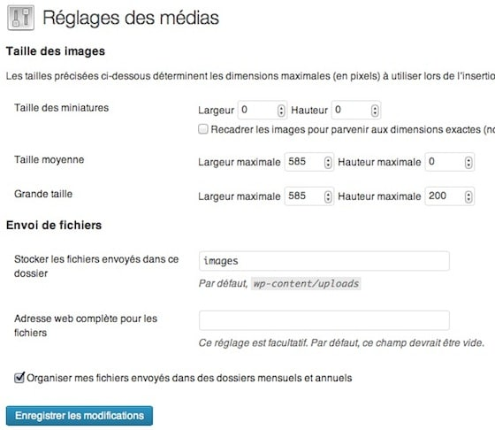 Capture d'écran - Réglages des médias sous WordPress