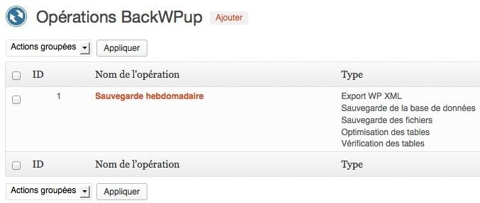Capture d'écran - BackWPup, liste des opérations