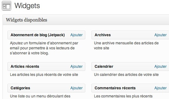 Capture d'écran - WordPress en mode accessibilité