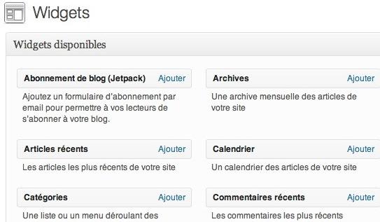 Capture d'écran - WordPress en mode accessibilité