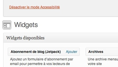 Capture d'écran - WordPress sans JavaScript
