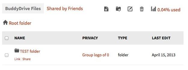 Capture d'écran - Liste des fichiers de BuddyDrive