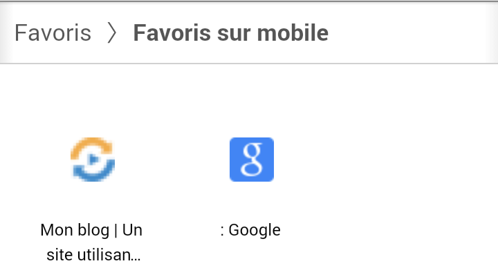 Favoris sur Android/Chrome