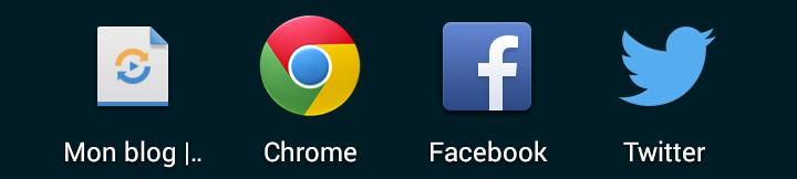 Icône sur l'écran d'accueil sur Android/Chrome