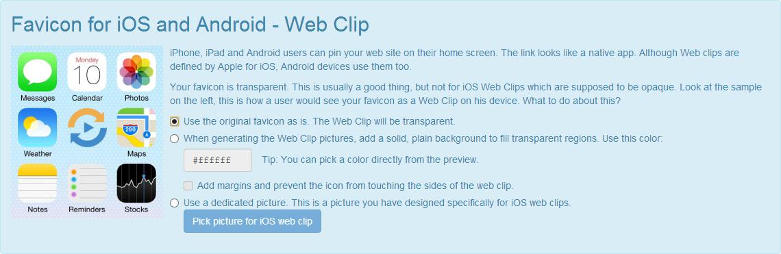 Icône pour iOS et Android, avant modifications