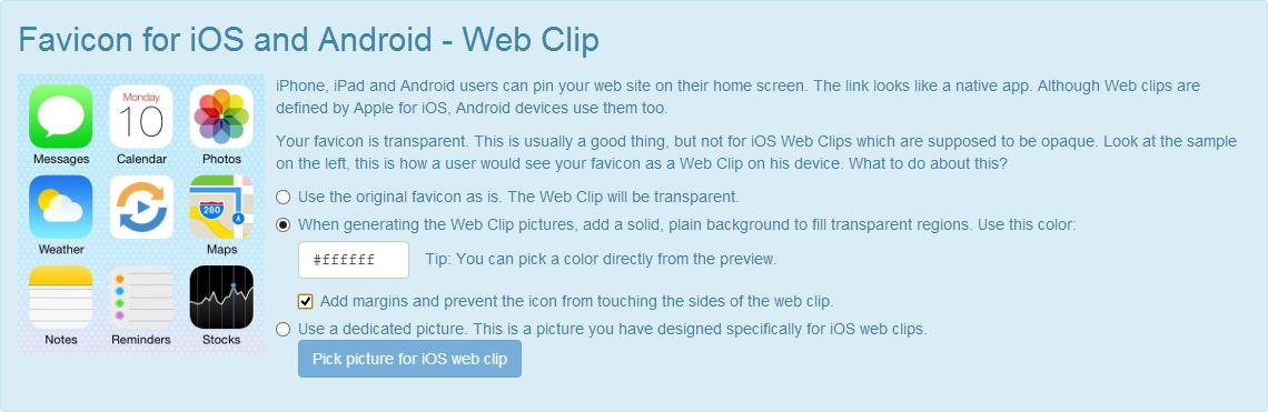 Icône pour iOS et Android, après modifications