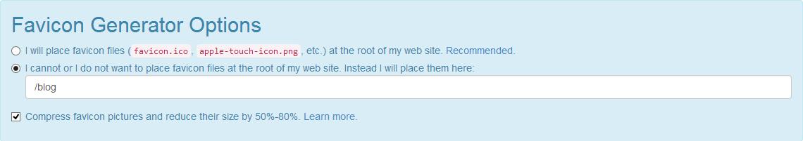Options spécifiques pour un blog donné