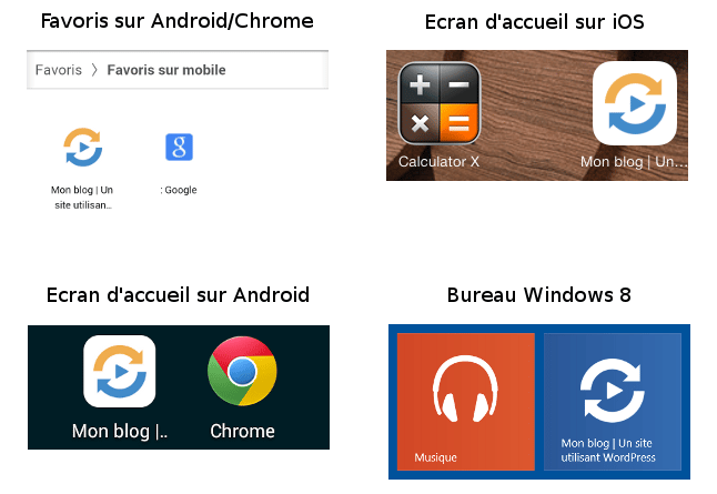 Nouveau favicon sur Android, iOS et Windows 8