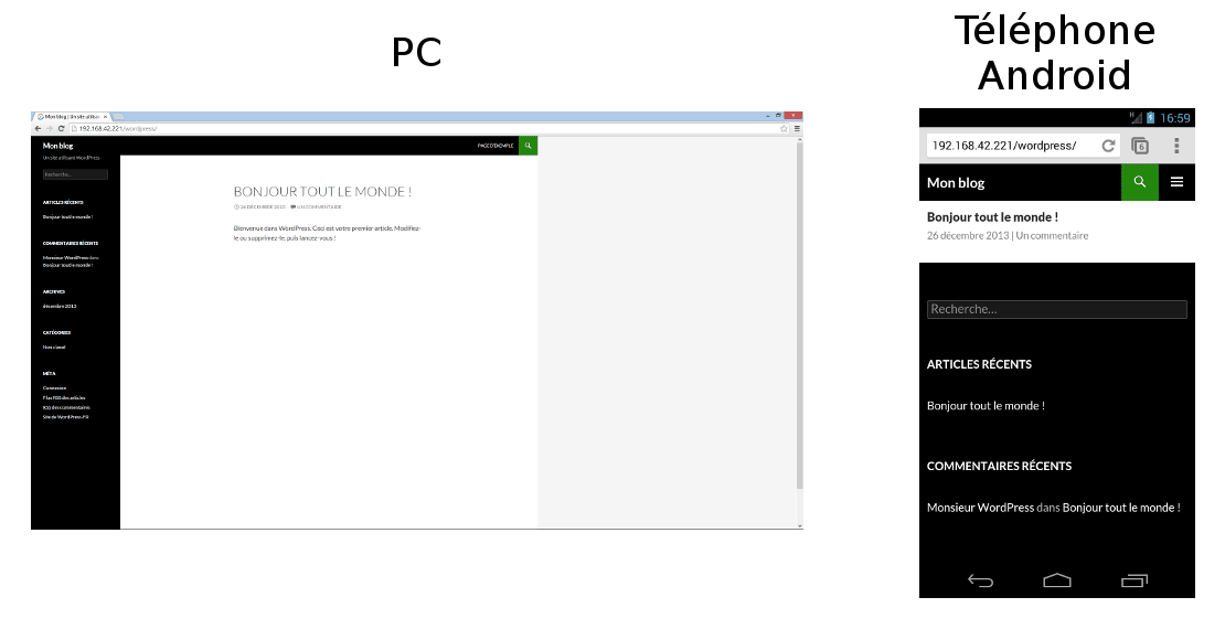 Page d'accueil du blog par défaut sur Windows et Android