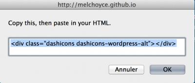Capture d'écran - Code HTML dashicons