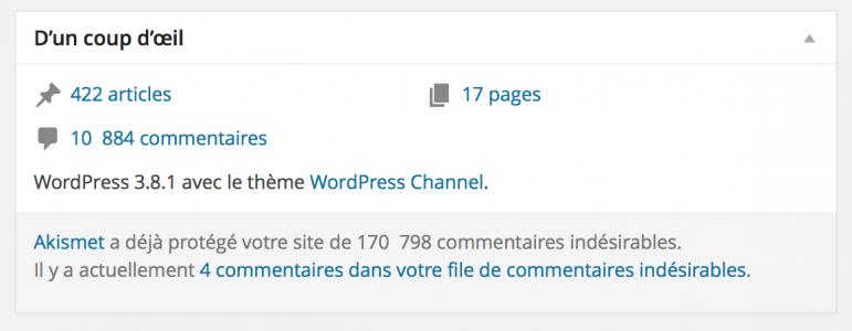 """Widget """"D'un coup d'oeil"""" par défaut sous WordPress"""